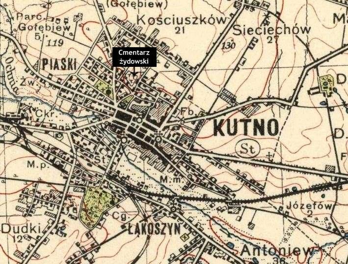 Mapa Okolic Kutna Z 1938 Roku