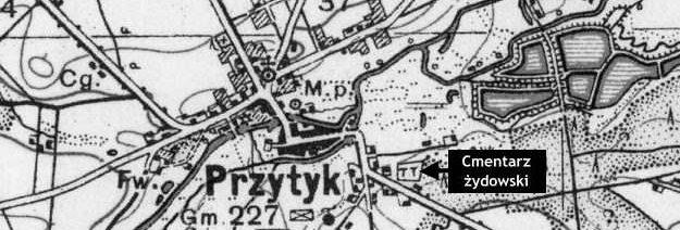 Mapa okolic Przytyku z 1938 roku z zaznaczonym cmentarzem żydowskim